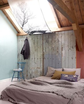 湖藍色深冬樹林主題臥室裝修效果圖
