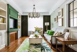 美式客厅实木家具绿色调装修效果图